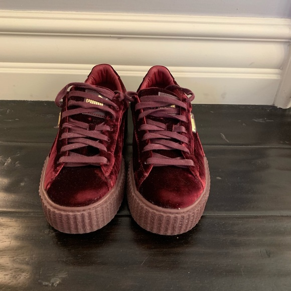 sale retailer a07d1 a13b2 Puma Fenty by Rihanna red velvet creepers size 9